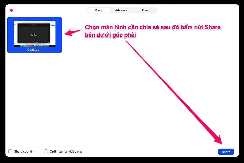 Chọn màn hình cần chia sẻ và bấm nút Share bên dưới