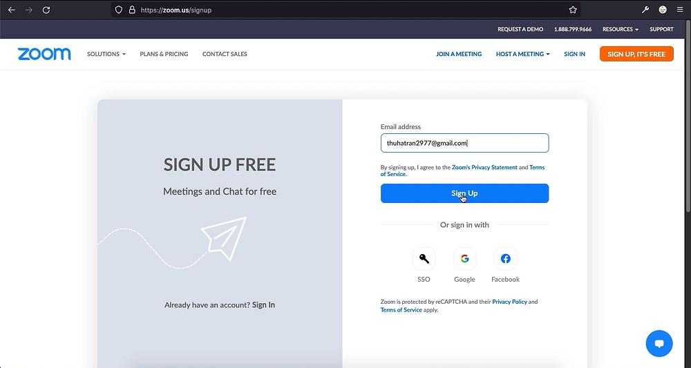 Điền email dùng để đăng nhập rồi bấm nút Sign Up