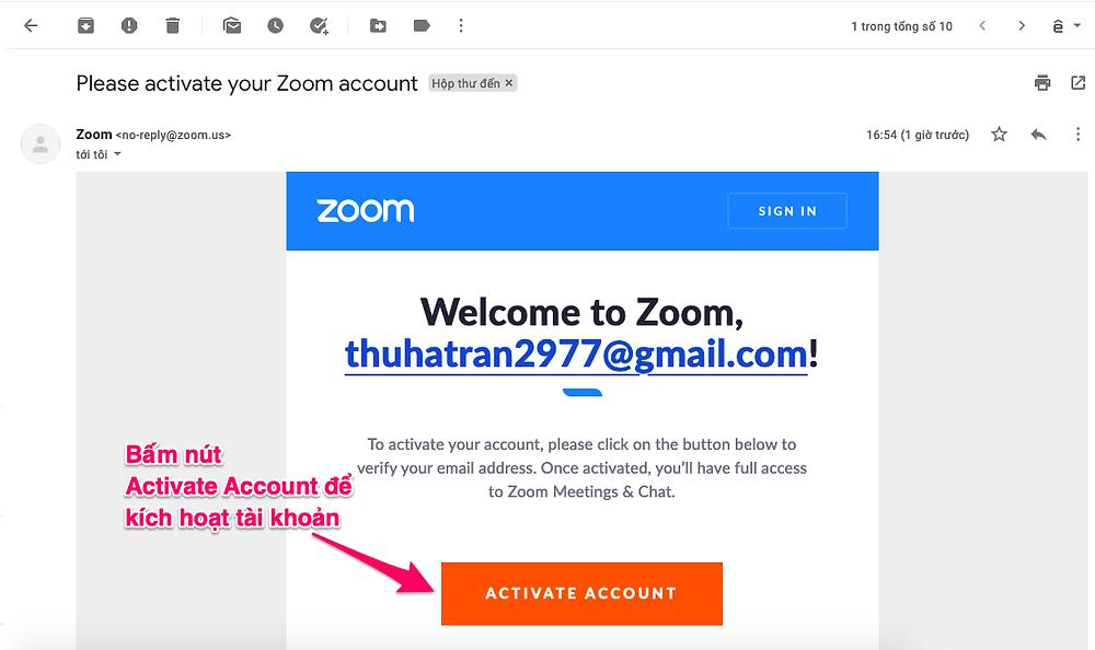 Bấm vào nút Active Account để kích hoạt tài khoản