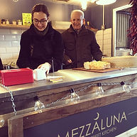 Chiara, owner of Mezzaluna, with her Grandad who inspired all her cooking