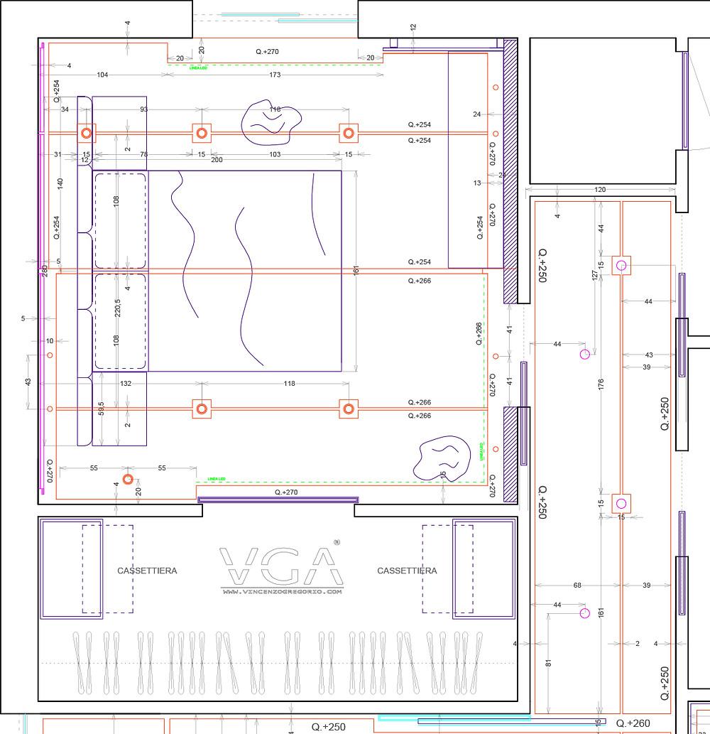 Il disegno mostra la funzionalizzazione di uno spazio dedicato alla camera da letto con annessa cabina armadio.