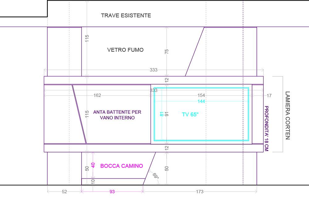 Progetto quotato per la realizzazione di un camino con incorporato modulo porta tv.