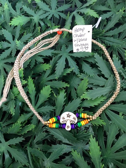 Rainbow Shroom Hemp Choker Necklace