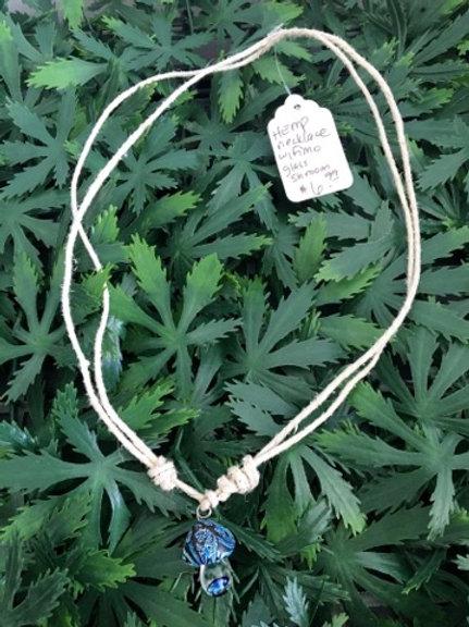 Fimo Blue Shroom Hemp Necklace