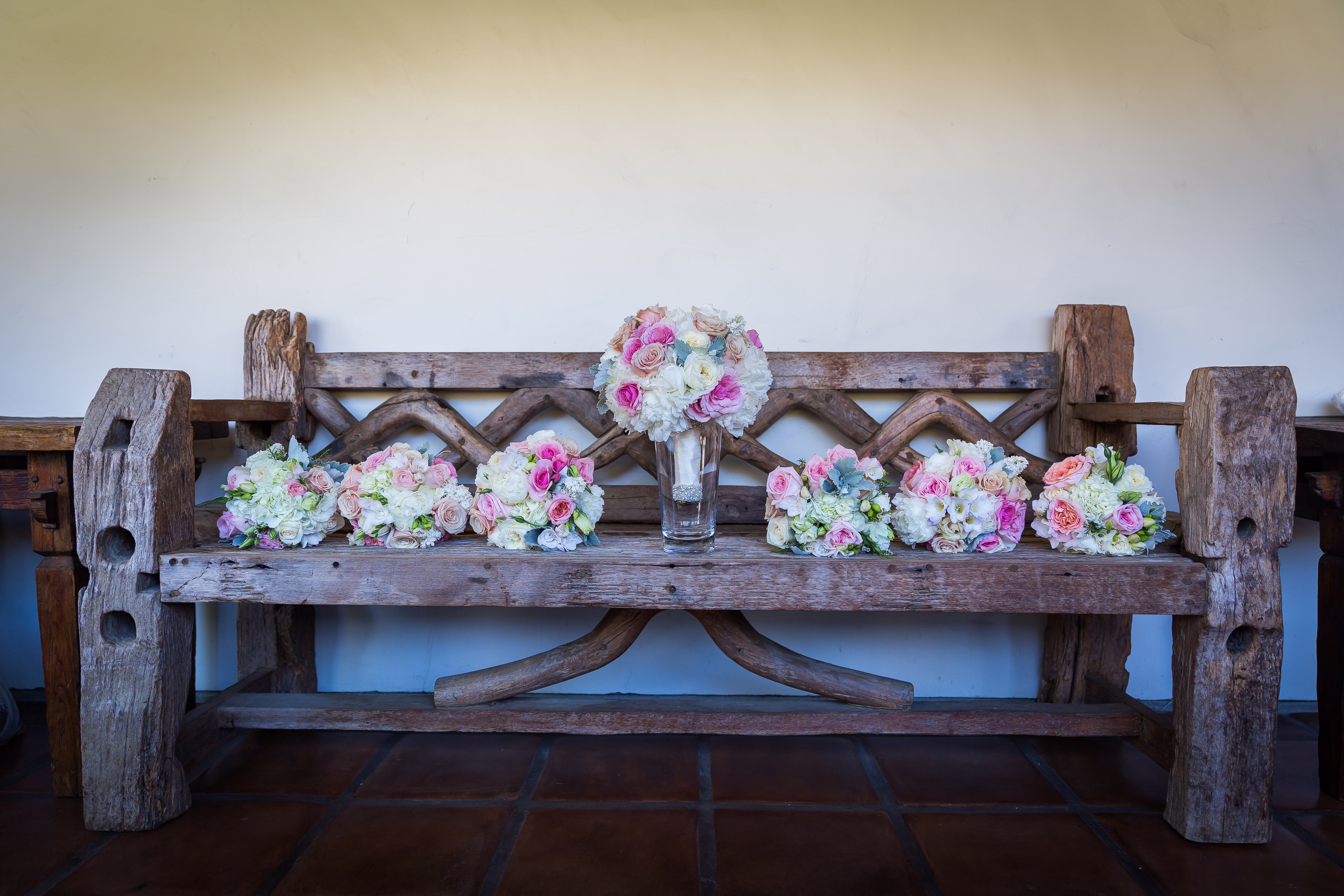 bouquets on bench