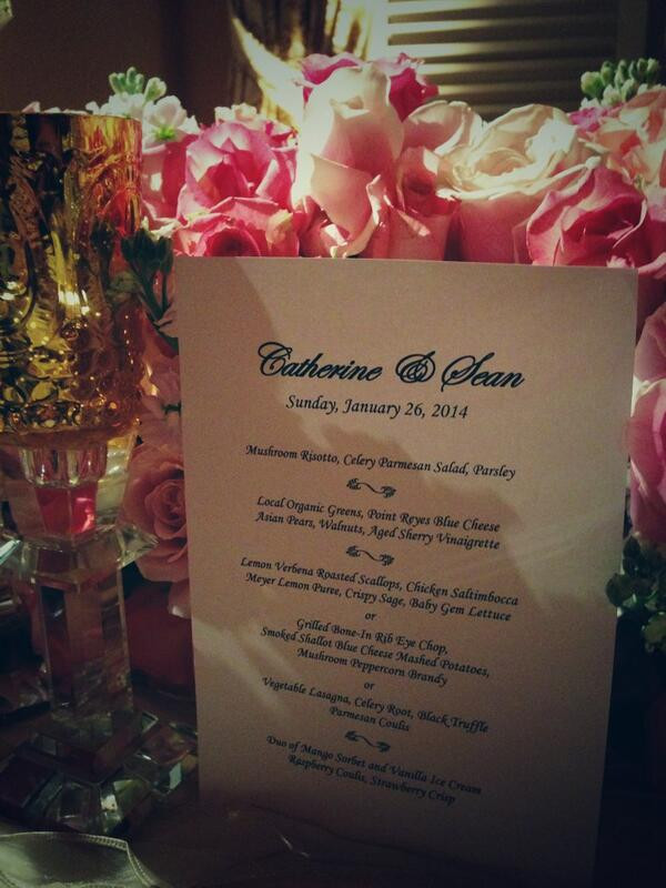 Bachelor Wedding Menu Flowers