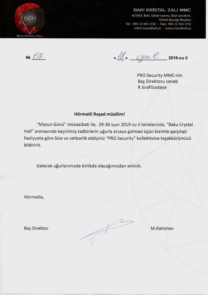 """29-30 iyun 2019 -cuil tarixlərində, """"Baku Crystal Hall"""" arenasındayüksək təşkilatçılığa"""