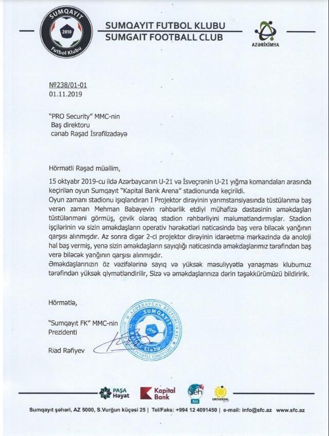 """Sumqayıt """"Kapital Bank Arena"""" stadionunda 15 oktyabr 2019-cu il tarixində keçirilən Azərba"""