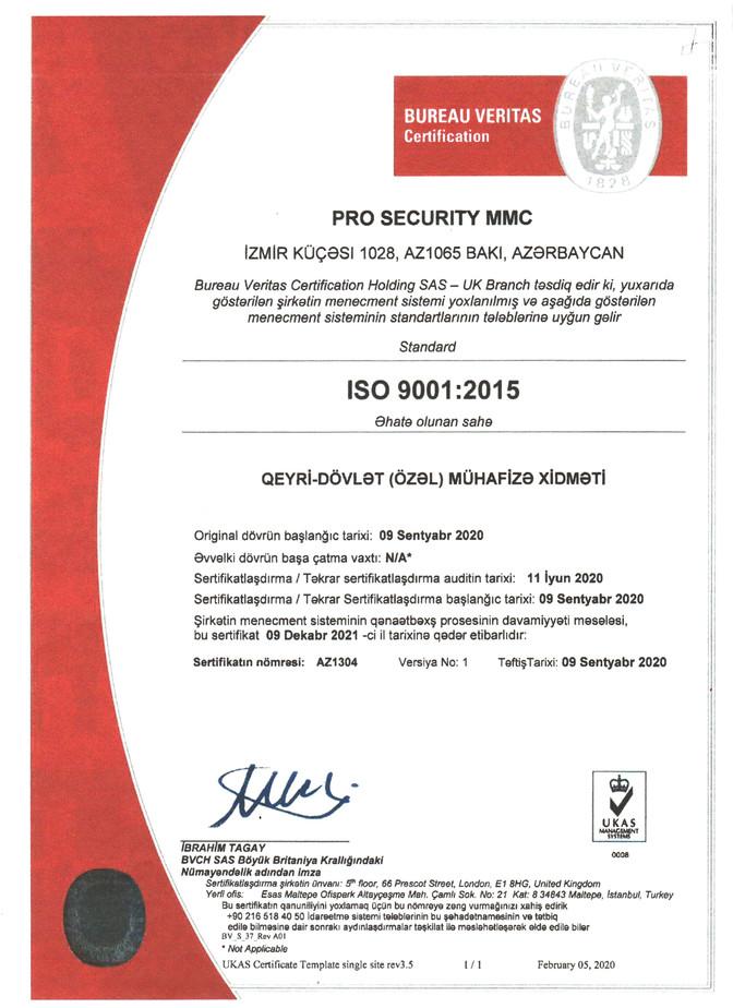 İSO 9001:2015 Sertifikat