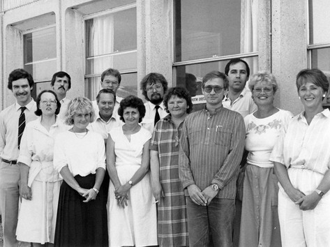 Ian Handricks (centre with beard) with Hungarian contact lens production team - Cressex Industrial Estate, Buckinghamshire, England