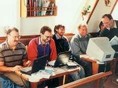 Ian Handricks running an on-board computer traing course with NZ Optometrists aboard Affinity, Marlborough Sounds  1998