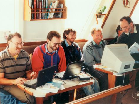 Ian Handricks running an on-board computer traing course with NZ Optometrists aboard Affinity, Marlborough Sounds  1998