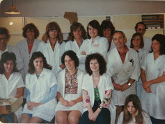 Ian Handricks (3rd from left back row) in 1974 after joining Hirst Contact Lens Ltd., High Street, Auckland CBD