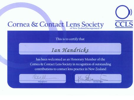 Ian Handricks awarded an Honorary Membership of the Cornea and Contact lens Society