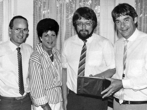 John Shennan, Ian Handricks, Margaret Dyason & Alan Jennins on the occasion of Ian's return to New Zealand in 1989