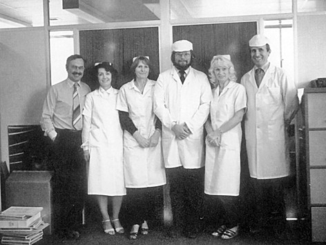 Ian Handricks (3rd from right) with contact lens team - High Wycombe 1979