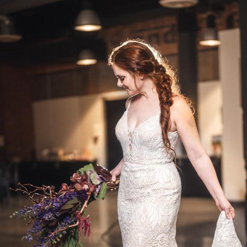 Modern bride with gorgeous fishtail braid