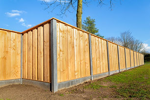 Outside built new wooden fence construct