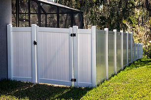 Solid Privacy Vinyl Fence With Gate .jpg