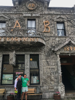Johnny Evison and ATKC outside the AB Hall in Skagway