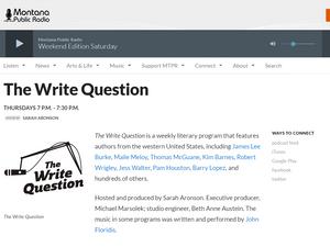Radio interview | The Write Question on Montana Public Radio