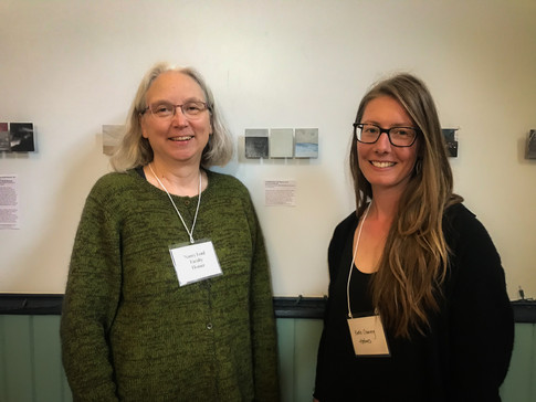 """Author Nancy Lord and artist Katie Ione Craney. Katie's show """"Landfalls: Dedications to Alaska Women Writers and Storytellers"""" was exhibited in the AB Hall. The show honors 15 Alaska women including 2019 faculty members Ernestine Hayes and Nancy Lord."""
