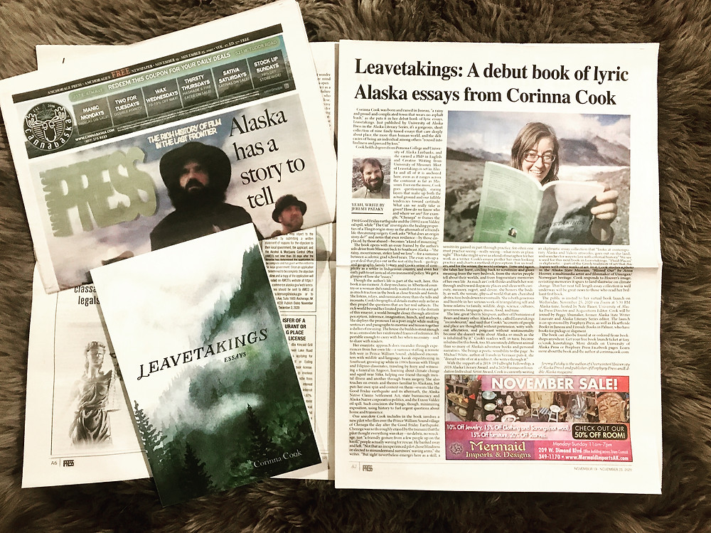 Review by Jeremy Pataky of LEAVETAKINGS by Corinna Cook (University of Alaska Press)