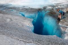 blue pool on Herbert Glacier