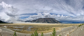 Kluane Lake | Looking back where I came from after crossing the windy flats.