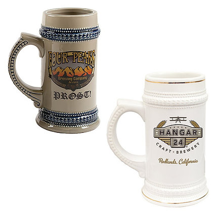 22 oz. Beer Stein - White/Gold or Tan/Blue