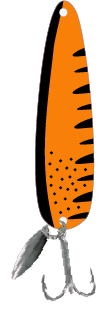 Hot Orange Black Scad Flutter Spoon