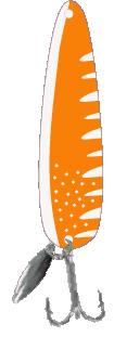 Hot Orange White Scad Flutter Spoon