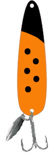 Hot Orange Black Head Flutter Spoon