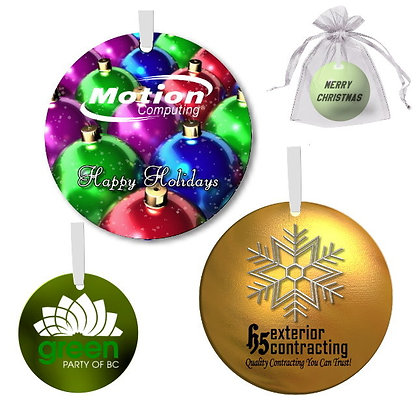 Round Metal Holiday Ornaments