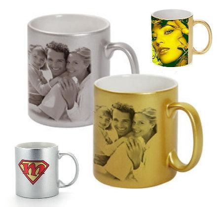 11 oz. Metallic Color Ceramic Mugs in Gold or Silver