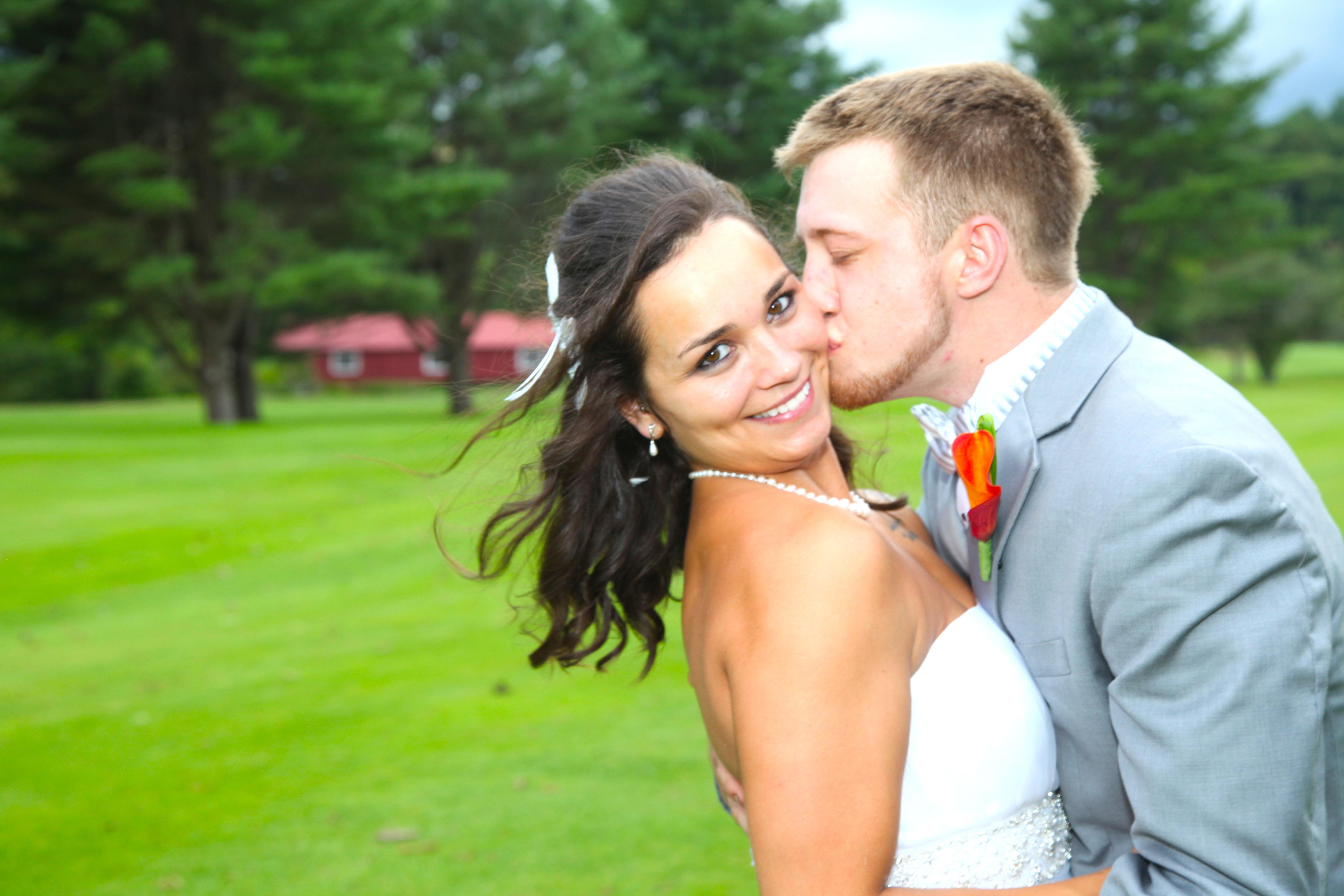 Country Club Wedding Kiss