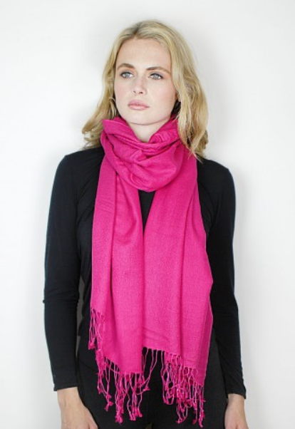 Fucsia Cashmere & Silk Tie-Dye Wrap