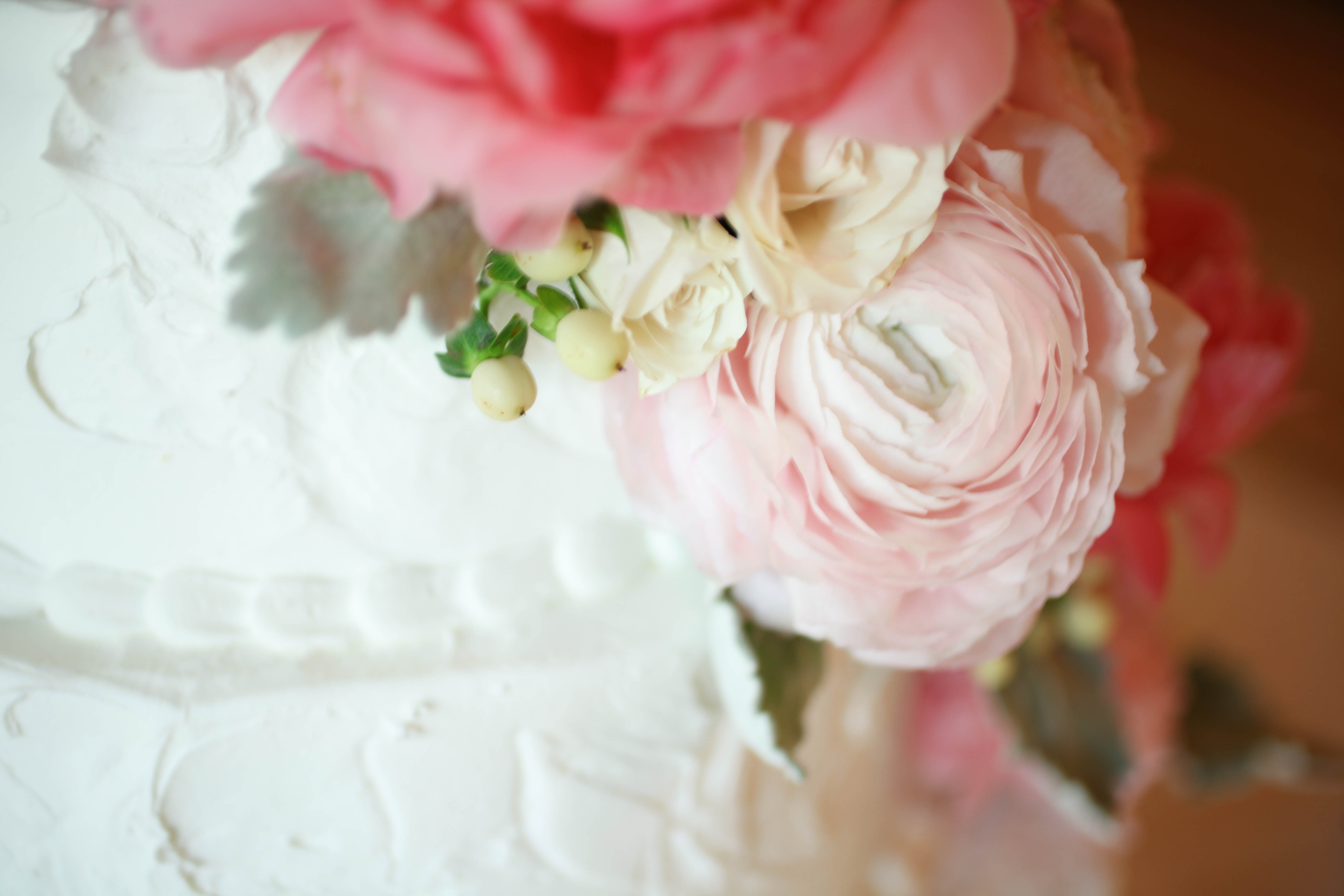 Wedding Cake Pink Flowers