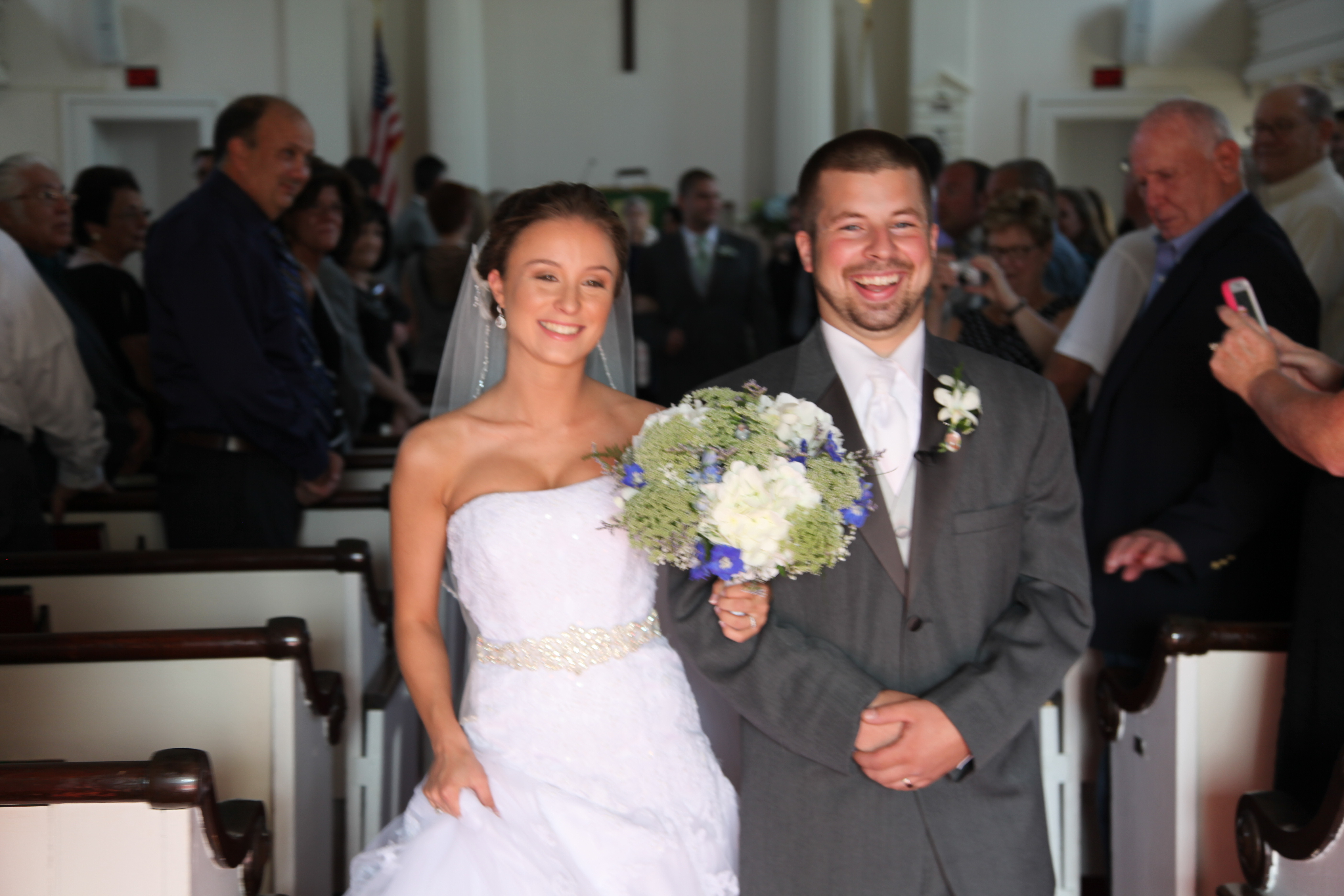 Bride and Groom down the aisle