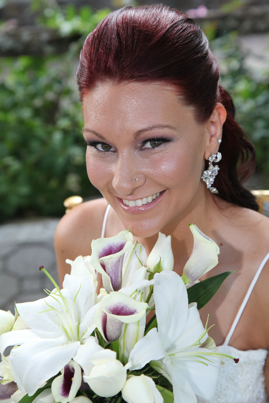 Bride and White Flowers