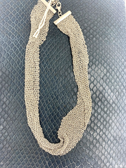 Sofia 925 Sterling Silver Woven Mesh Chain Mail Necklace