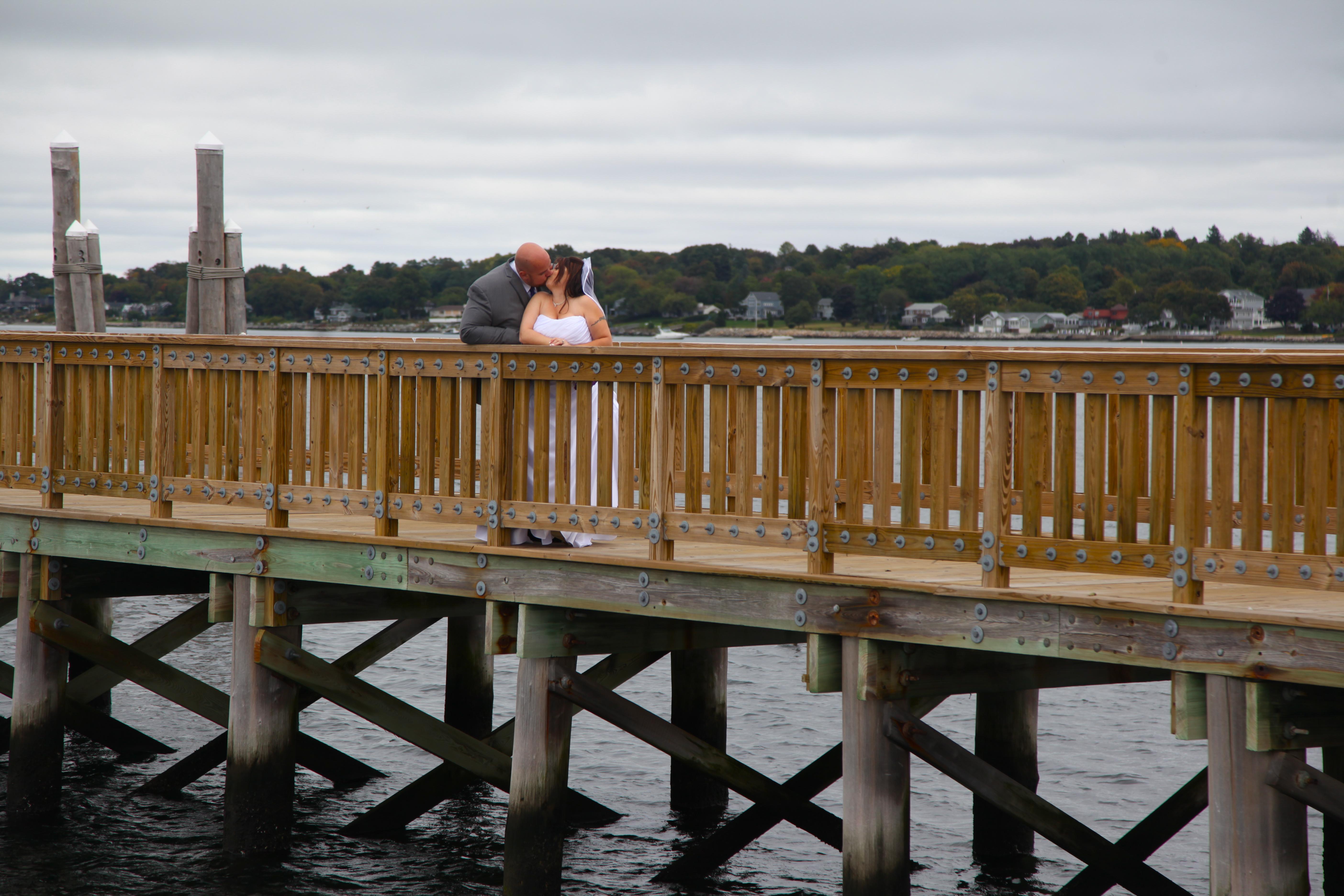 Wedding Kiss on a bridge