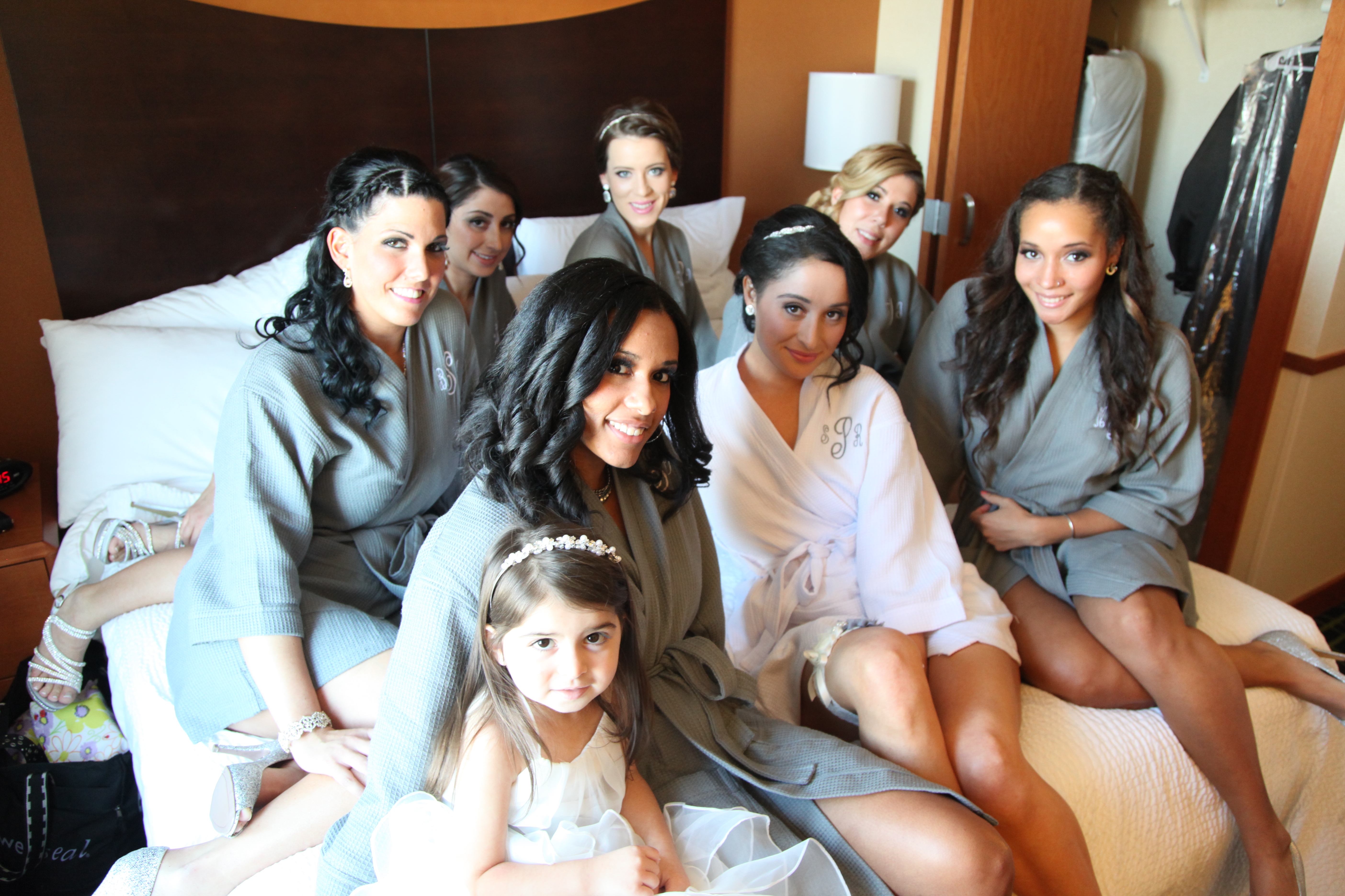 The Bridesmaids on the bed