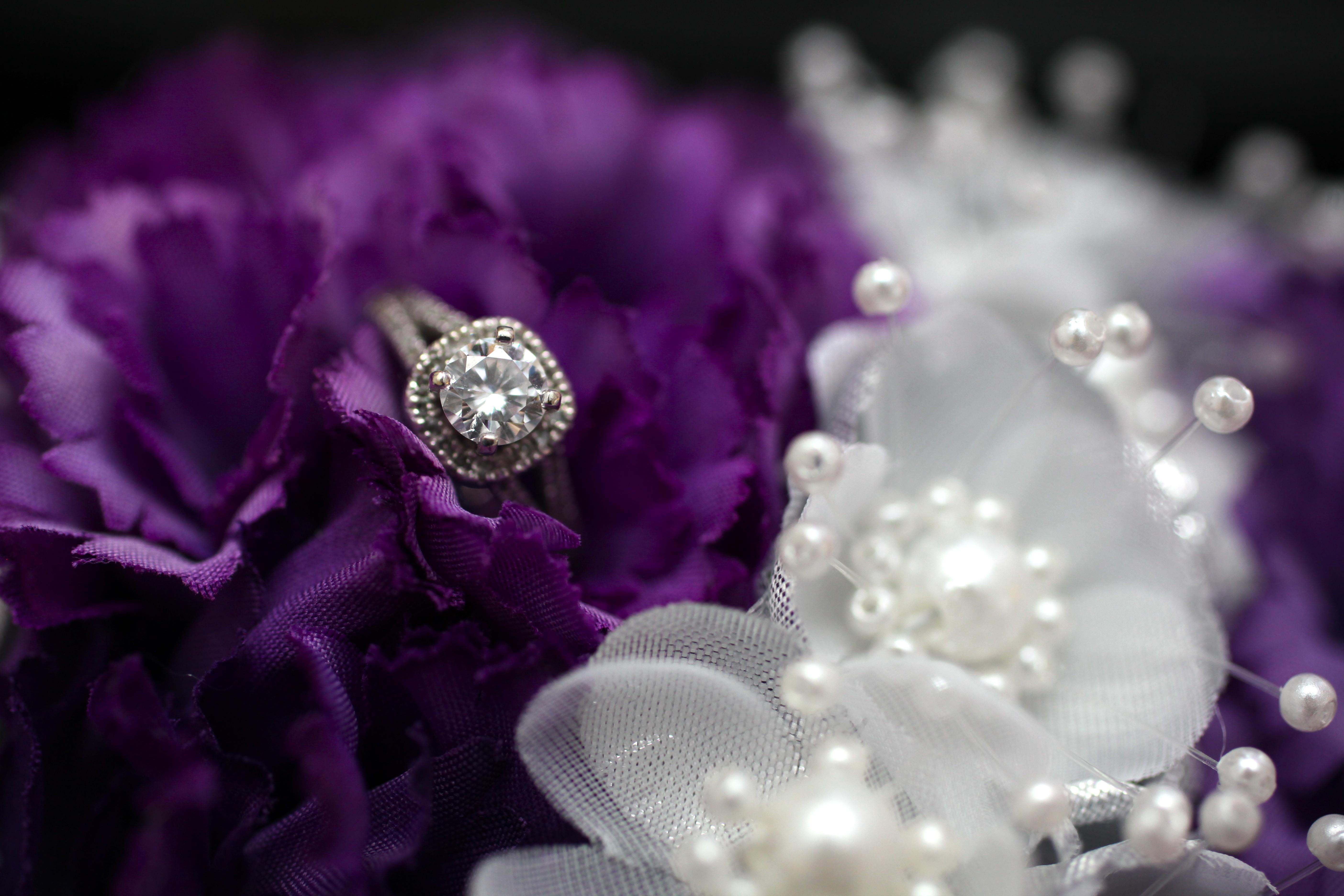Diamond ring in wedding flowers