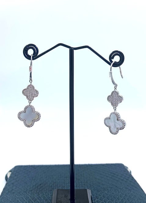 Mother of Pearl 925 Sterling Silver Inlay Drop Earrings
