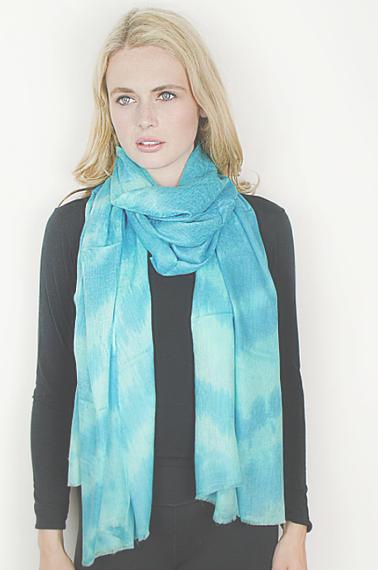 Turquesa Cashmere & Silk Tie-Dye Wrap