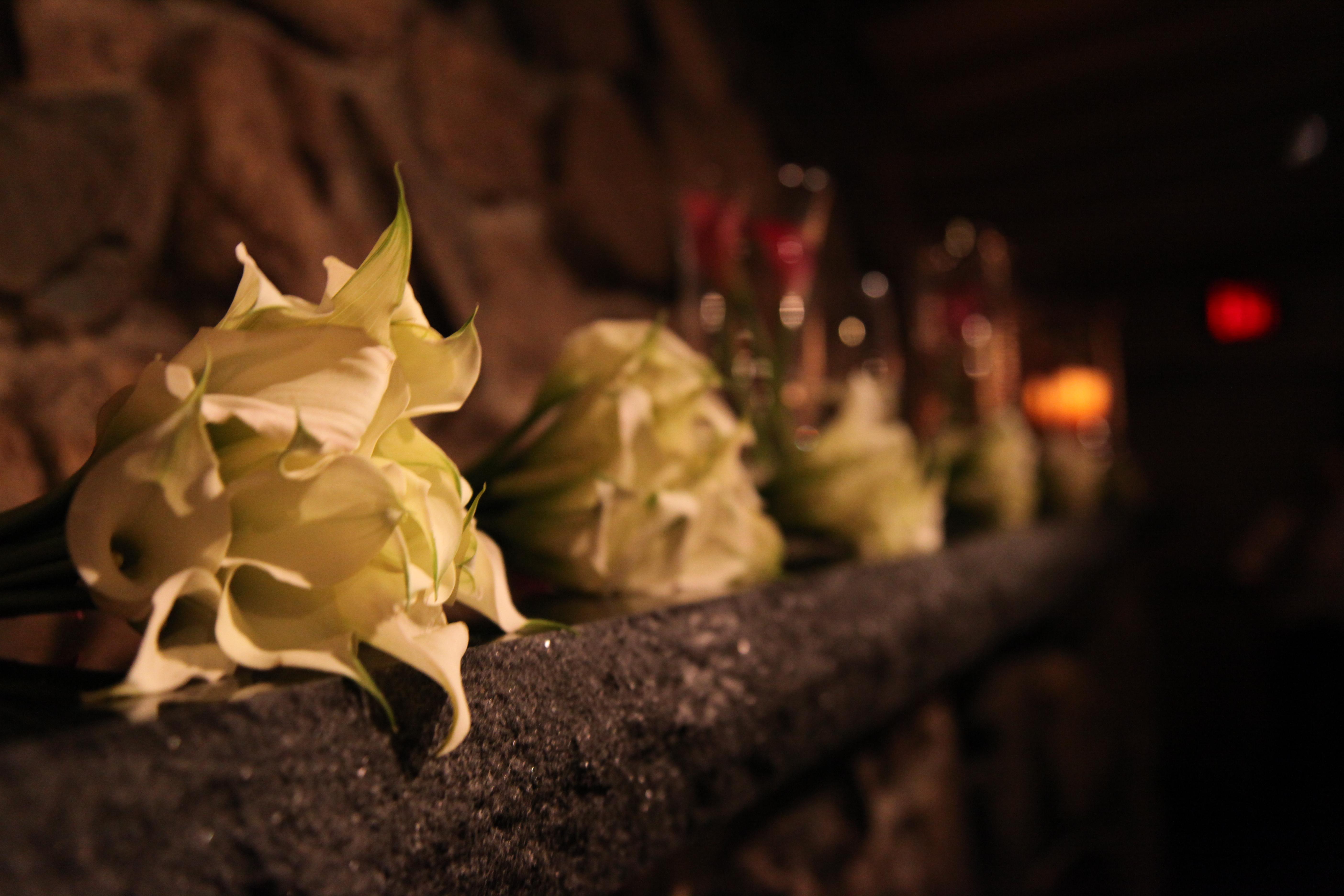 Wedding Flowers on the mantel