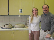 Mike Vatalaro and Kathleen Kneafsey during his ceramics workshop in 2007.