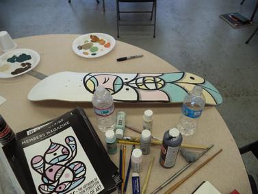 Works in progress during the Pendleton workshop.