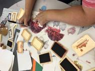 Artists working during Julie Chen's workshop.